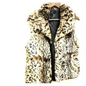 Jack faux fur jaguar or leopard print trendy vest